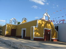 Yellow and Red Church - Mexico. Mexican Church in Yucatan Royalty Free Stock Photography
