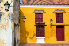 Yellow and Red Colonial Architecture Royalty Free Stock Photos