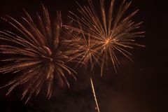 Yellow and Red Colors Fireworks Lights Royalty Free Stock Photography