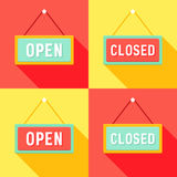 Yellow Red Cyan Open and Closed Signs Set Stock Photos
