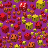 Yellow Red Dice Seamless Pattern, 3D illustration. On Purple Background royalty free illustration