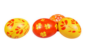 Yellow and red Easter eggs. On white background royalty free stock photo