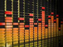 Yellow-red equalizer. 3d rendered image of graphic equalizer display with reflection Royalty Free Stock Photo