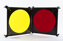 Yellow and Red Filters. Yellow and Red Photographic Light Filters Royalty Free Stock Photo