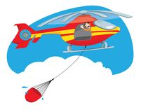 Yellow and red fire fighter helicopter flying and carrying water. A vector cartoon representing a funny and friendly helicopter pilot, flying and carrying a Royalty Free Stock Photos