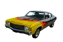 Yellow red flames hotrod. Yellow blended to red flames, black hotrod on white Royalty Free Stock Photo