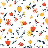 Yellow and red floral seamless pattern. Design Stock Photos