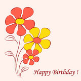 Yellow and Red Flower Illustration on Pink Background. Yellow and red flowers on pink background, birthday card, flora, nature, flower bouquet, brown leaves Royalty Free Stock Images