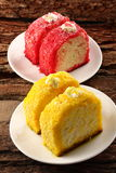 Yellow and red  fresh cream cakes Royalty Free Stock Photo