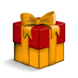 Yellow and red gift box. Royalty Free Stock Images