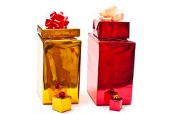 Yellow and red gifts Royalty Free Stock Photo
