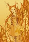 Yellow red girl autumn in the forest with leaves in the hands of children illustration royalty free stock images