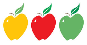 Yellow, Red and Green Apples. Stylized, vector illustration of apples in red, green and yellow Royalty Free Stock Images