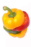 Yellow Red Green Bell Pepper Slices stock image