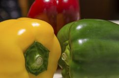 Yellow red and green peppers Royalty Free Stock Photo