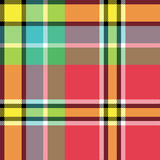 Yellow red green blue check fabric texture seamless pattern Stock Image