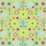 Trees flowers patterns colored symbols ornament on green background royalty free illustration