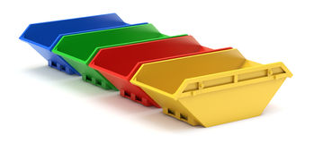 Yellow, red, green and blue waste skip Royalty Free Stock Photography