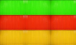 Yellow,red,green box stack of container striped surface texture. Background Royalty Free Stock Images
