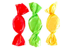Yellow, red and green candies Royalty Free Stock Images