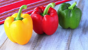 Yellow, red and green capsicum stock video