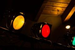 Yellow Red Green Dance Floor Spotlights Indoors Operational Stock Image