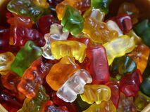 Yellow Red Green Gummy Bear Candy Royalty Free Stock Photography