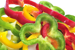 Yellow, red and green peppers Royalty Free Stock Image