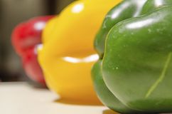 Yellow red and green peppers Stock Photography