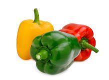 Yellow,red,green, sweet bell pepper or capsicum isolated. On white background stock photography