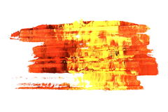Yellow red grunge brush strokes oil paint isolated on white background Royalty Free Stock Photo