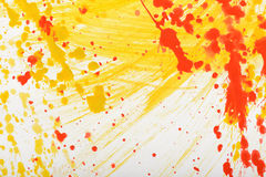Yellow-red hand-painted gouache stroke daub texture. Yellow-red abstract hand-painted gouache brush stroke daub background texture Stock Photo