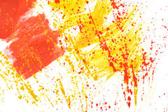 Yellow-red hand-painted gouache stroke daub texture. Yellow-red abstract hand-painted gouache brush stroke daub background texture Stock Photography