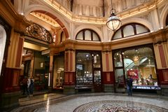 Decorative Victorian shopping mall domed circular atrium interior space of historic Block Arcade in Melbourne CBD, Australia stock photos