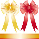 Yellow and red holiday bow Stock Images