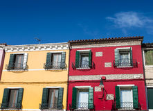 Yellow and Red Homes in Burano Royalty Free Stock Images