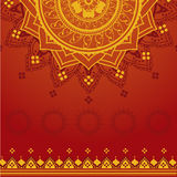 Yellow and red indian background. Traditional Indian henna red and yellow mandala saree background Stock Images