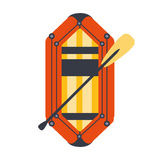 Yellow And Red Inflatable Dinghy With Peddle, Part Of Boat And Water Sports Series Of Simple Flat Vector Illustrations. River Boating Sportive Equipment Piece Stock Photo