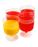 Yellow and red jello. Four pudding cups filled with yellow and red jello Stock Photos