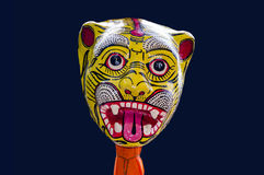 Yellow red lion mask Stock Image