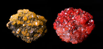 Yellow and red mineral crystals Mimetite Stock Images