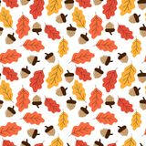 Yellow and red oak leaves and acorns autumn pattern seamless vec. Tor Stock Photo