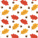 Yellow and red oak leaves and acorns autumn pattern seamless vec. Tor Stock Images