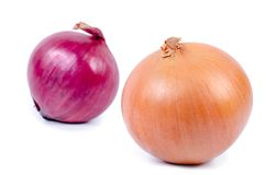 Yellow and red onion. Over white royalty free stock photography