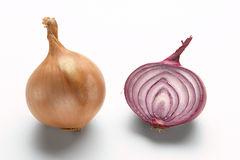Yellow and red onion. On a white background Stock Photos