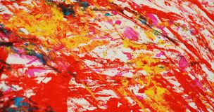 Yellow red orange painting blurred abstract vivid background, texture and strokes of brush. Blue yellow gray orange red phosphorescent blurred bright vivid hues royalty free stock photography