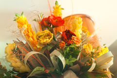 Yellow red orange white Wedding Floral bouquet from table center. To luxury italian restaurant for romantic dinner Stock Photos