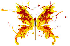 Yellow and red paind made butterfly Royalty Free Stock Photo