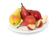 Yellow and red pears for snack Stock Photography