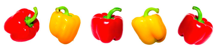 Yellow  and red pepper. Yellow and  red paprika  isolated on white Stock Image